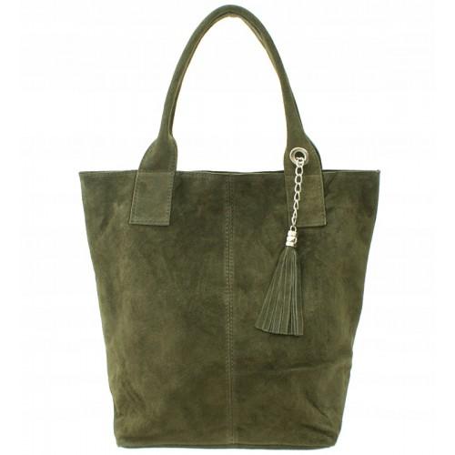 Italská kožená kabelka typu shopper s třásněmi semišová kůže - zelená