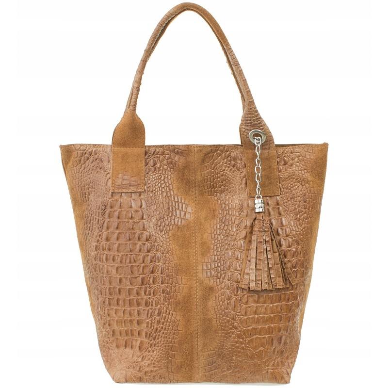 841cdab788 Italská kožená kabelka typu shopper s třásněmi krokodýlí vzor - hnědá