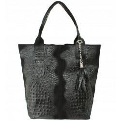 Italská kožená kabelka typu shopper s třásněmi krokodýlí vzor - černá