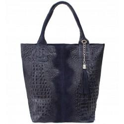 Italská kožená kabelka typu shopper s třásněmi krokodýlí vzor - tmavě modrá