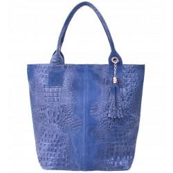 Italská kožená kabelka typu shopper s třásněmi krokodýlí vzor - světle modrá