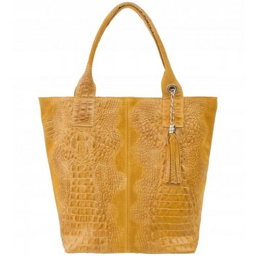 Italská kožená kabelka typu shopper s třásněmi krokodýlí vzor - světle hnědá