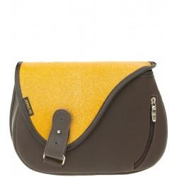 Dámská kožená kabelka SŁOŃ TORBALSKI - mouse vzor 68 - hnědá/žlutá