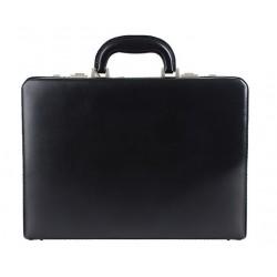 Kožený diplomatický kufřík MARCO - černý / šedým kováním