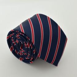 Modrá kravata s červenými proužky ANGELO di MONTI