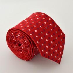 Červená kravata s kostičkama 3 ANGELO di MONTI