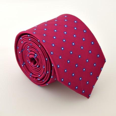 Červeno - růžová kravata s kostičkama ANGELO di MONTI