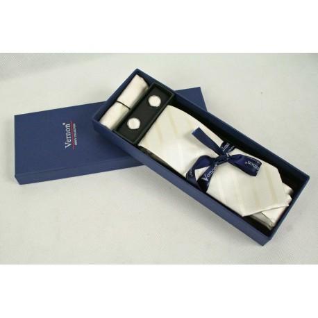 Krémová kravata v dárkovém balení Vernon