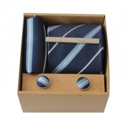 Modrá kravata s proužky II v dárkovém balení MARROM