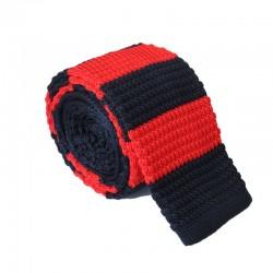 Pletená kravata MARROM - tmavo modrá s červenými prúžkami