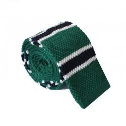 Pletená kravata MARROM - zelená s proužky