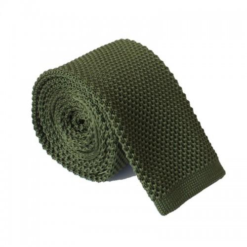 Pletená kravata MARROM - zelená army