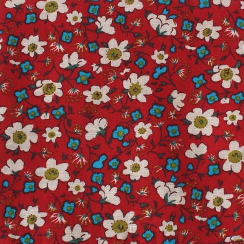 Kapesníček červený s kytičkami II