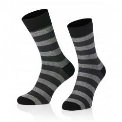Pánské ponožky MARROM - černo šedé proužky 44/46