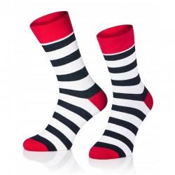 Pánské ponožky MARROM - modro bílo černé proužky 41/43