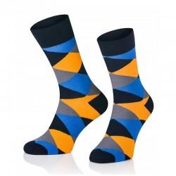 Pánské ponožky MARROM - modro žluté káro 41/43