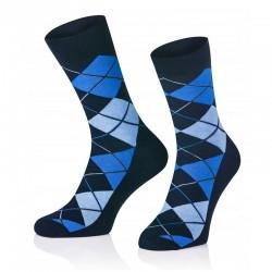 Pánské ponožky MARROM - tmavě modré káro 44/46