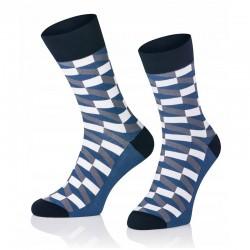Pánské ponožky MARROM - modro bílá šachovnice 41/43