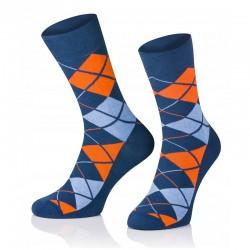 Pánské ponožky MARROM - modro oranžové káro 44/46