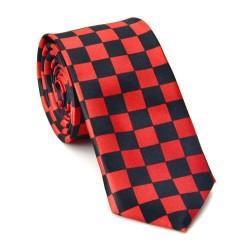 Crazy kravata - červeno černá šachovnice