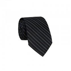 Hedvábná kravata MARROM - černá s proužky