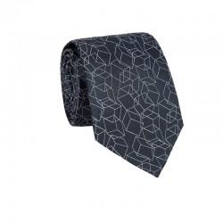 Hedvábná kravata MARROM - šedá s 3D vzorem