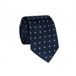 Hodvábna kravata MARROM - modrá s bodkami