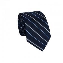 Hedvábná kravata MARROM - modrá s proužky II
