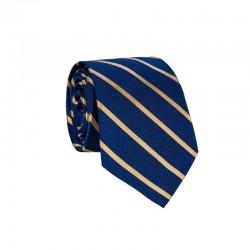 Hedvábná kravata MARROM - modrá s proužky III