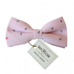 Pánský motýlek MARROM - růžový s kotvičkami
