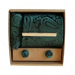 Zelená kravata se vzorem v dárkovém balení MARROM