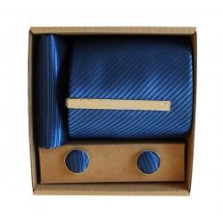 Modrá kravata s jemnými proužky v dárkovém balení MARROM
