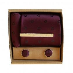 Fialová kravata s jemným vzorem v dárkovém balení MARROM
