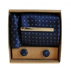 Modrá kravata s jemným vzorem v dárkovém balení MARROM