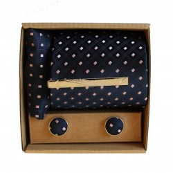 Modrá kravata se vzorem v dárkovém balení MARROM
