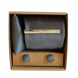 Šedá kravata s jemnými prúžkami v darčekovom balení MARROM