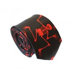 Crazy kravata - čierna s červenými kostlivci
