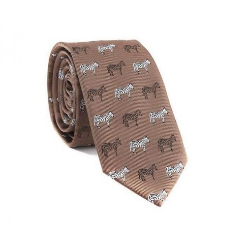 Hnědá kravata MARROM - zebry