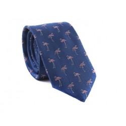 Modrá kravata MARROM - plameniaky