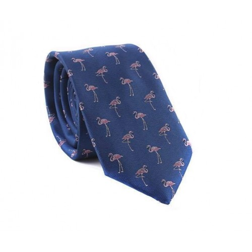 Modrá kravata MARROM - plameňáci
