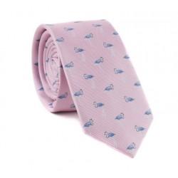 Růžová kravata MARROM - plameňáci
